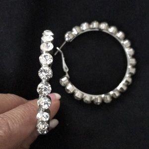 🌟Bling🌟 Silver wRhinestones Large Hoop Earrings